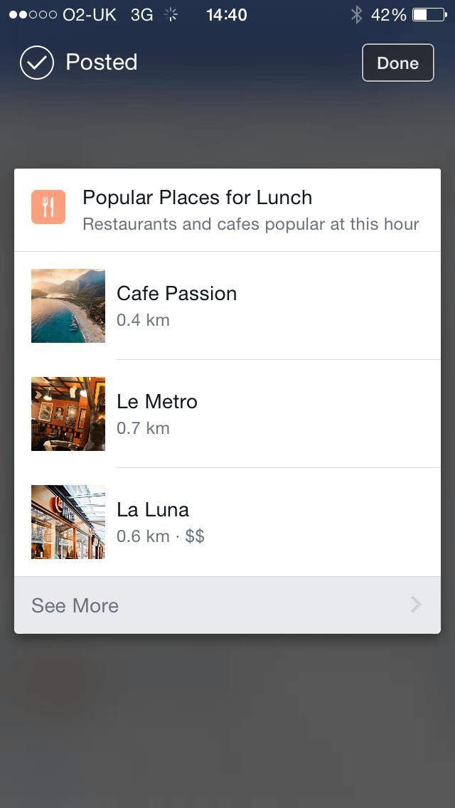 Facebook Restaurant recommendations snowflake media
